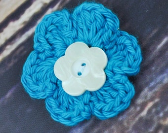 Hair Clip - Flower Accessory - Blue and White