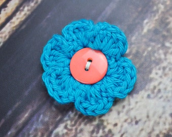 Blue Hair Clip - Flower - Peach