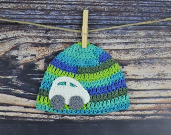 Car Baby Hat - Blue and Green - Crochet