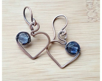 Copper heart earrings with periwinkle blue crystals/periwinkle earrings heart wire earring copper heart wire wrapped heart jewelry handmade