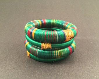 4 green silk thread wrap bracelet bangle india