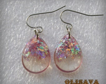 Resin  teardrop  glitter earrings  ,  Resin Jewelry , Resin glitter Jewelry , resin earrings
