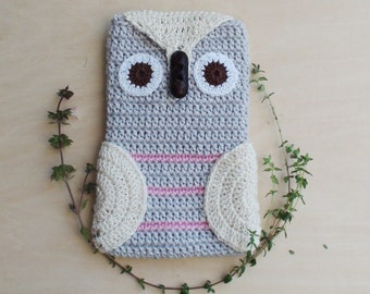 Crochet Grey Owl Phone cozy, Grey iPhone Cozy,gift for birthday, crochet phone case, iPhone Gadget Case