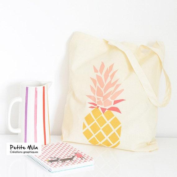 Tote bag Pineapple - organic cotton