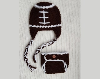 Crochet Diaper Cover and Hat Set - Football diaper cover hat set, newborn diaper covers, photo prop, photography, newborn pictures 0-3