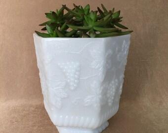 Milk Glass Planter, Anchor Hocking, Fire King, Large Planter, Grapevine Design, Pedestal Milk Glass, Tall White Planter, Indoor or Outdoor