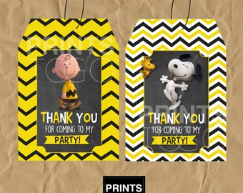 Charlie Brown Thank You Tags, Charlie Brown Favor Tags, Charlie Brown Party, Charlie Brown Party Favors, Party Tags, Snoopy, Peanuts