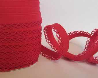 Bias binding with crocheted trim/crochet Red