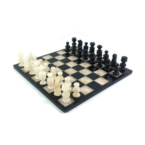 Vintage carved stone chess set with black by primatreasures - Granite chess pieces ...