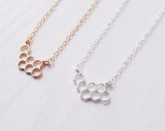 Honeycomb Necklace | Behive | Hexagon | Boho Necklace | Minimlist | 90s