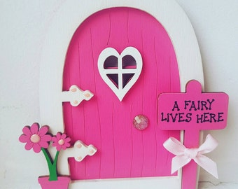 Wooden FAIRY DOOR - hand-painted- Custom made to order -Comes with a personalised Letter & Fairy Dust.