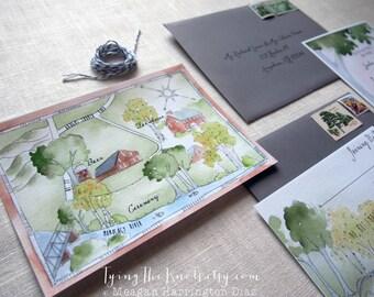 Wedding Invitation Suite - Watercolor Invitations - Wedding Custom Map - Maryland Wedding - Barn Wedding