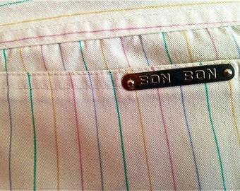 Bon Bon RAINBOW PANTS White with thin PINSTRIPES Highwaisted, Vintage