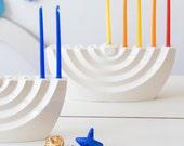 Modern Hanukkah Menorah wavy white ceramic Chanukia - Contemporary Judaica Chanukah &wedding gift