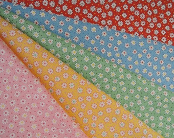 Bundle of 1/8 Lecien Retro 30's Tiny Daisies Fabric in 5 Colorways. Made in Japan