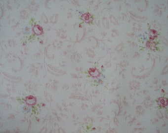 """Fat Quarter of Quilt Gate Mary Tiny Pink Rose Bouquets Floral Toile on Off White Background. Made in Japan. Approx. 22"""" x 18"""""""
