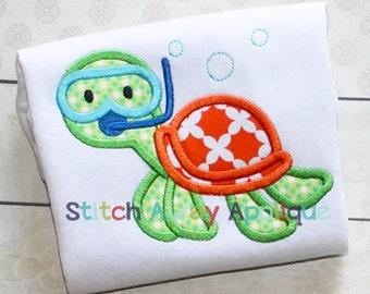 Snorkel Sea Turtle Summer Beach Machine Applique Design