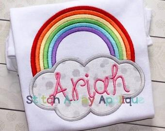 Rainbow Cloud Spring Summer Machine Applique Design