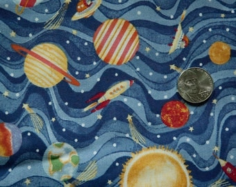 Cotton Fabric with Spaceship, Planet and Milky Way Design