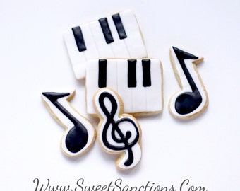 Half Dz. Music Note and Keyboard Cookies Music Lovers, Orchestra, Band and Music Teachers