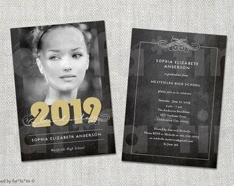 Elegant Scrolls Chalkboard Class of 2016 Graduation Announcement & Grad Party Invitation | Custom Graduate Photo Card PRINTED / PRINTABLE