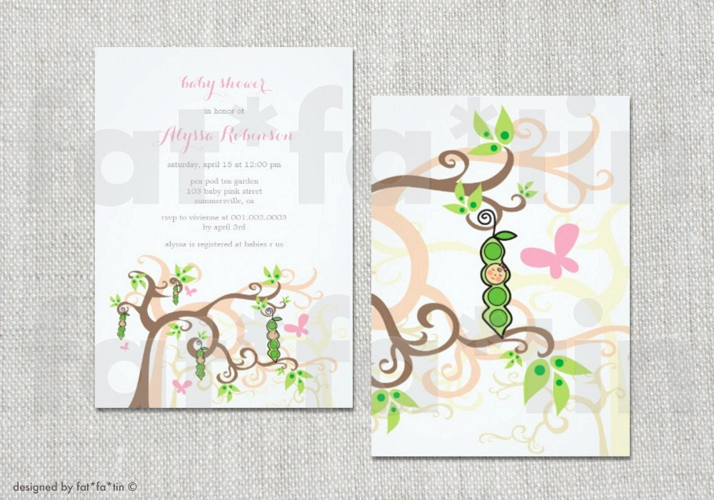 peas in a pod baby shower invitation boy girl twins whimsical