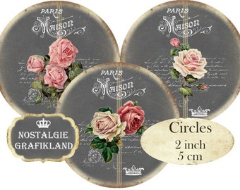 Chalkboard Maison Roses Circles 2 inch French Rose Instant Download digital collage sheet C262 Shabby Chic Redoute