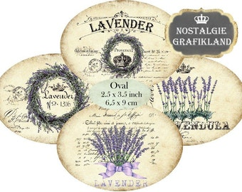 Lavender Oval Wreath Herbs Soap Lavande Provence 3.5 x 2.5 inch printable Instant Download digital collage sheet O154