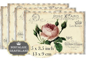 Shabby Chic Roses French Redoute Instant Download printable digital collage sheet P138