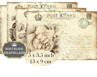Postcards Vintage Roses Amore French Carte Postale Instant Download digital collage sheet P137