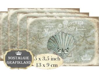 Bath Maison Salle de Bain Sea Shells Starfish Beach 5x3.5 inch Instant Download digital collage sheet P130