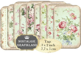 Shabby Chic Backround Tags Roses printable Instant Download digital collage sheet T165 digital Tags Rose pastel