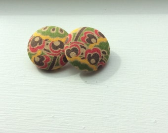 Tribal Fabric Button Earrings Size 45