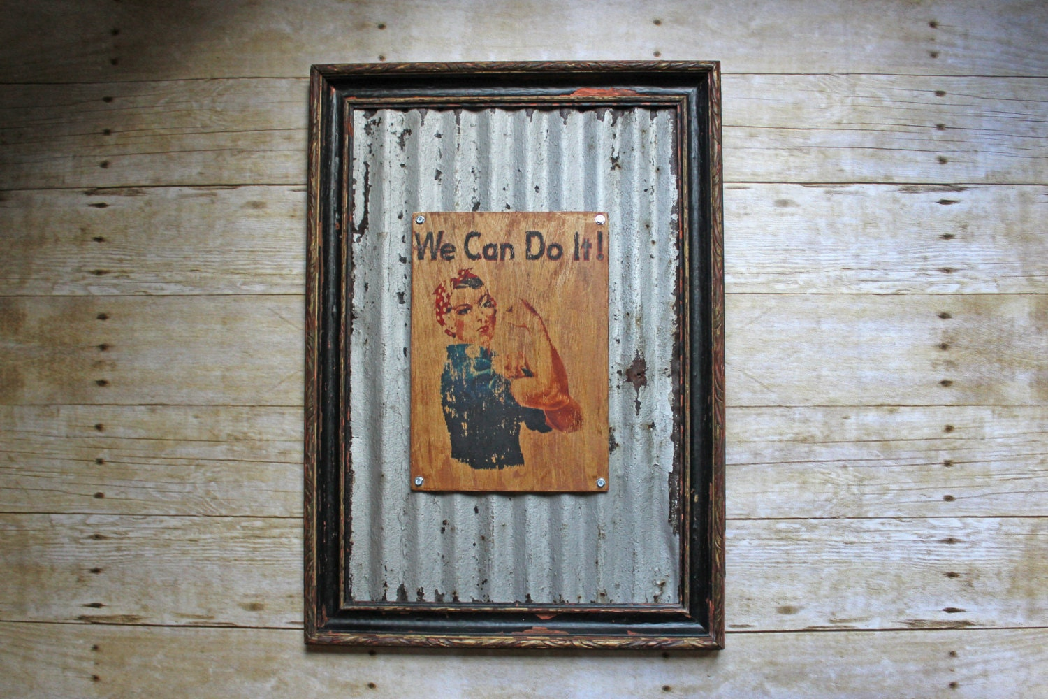 Rosie The Riveter Sign Reclaimed Galvanized Metal Chippy Paint
