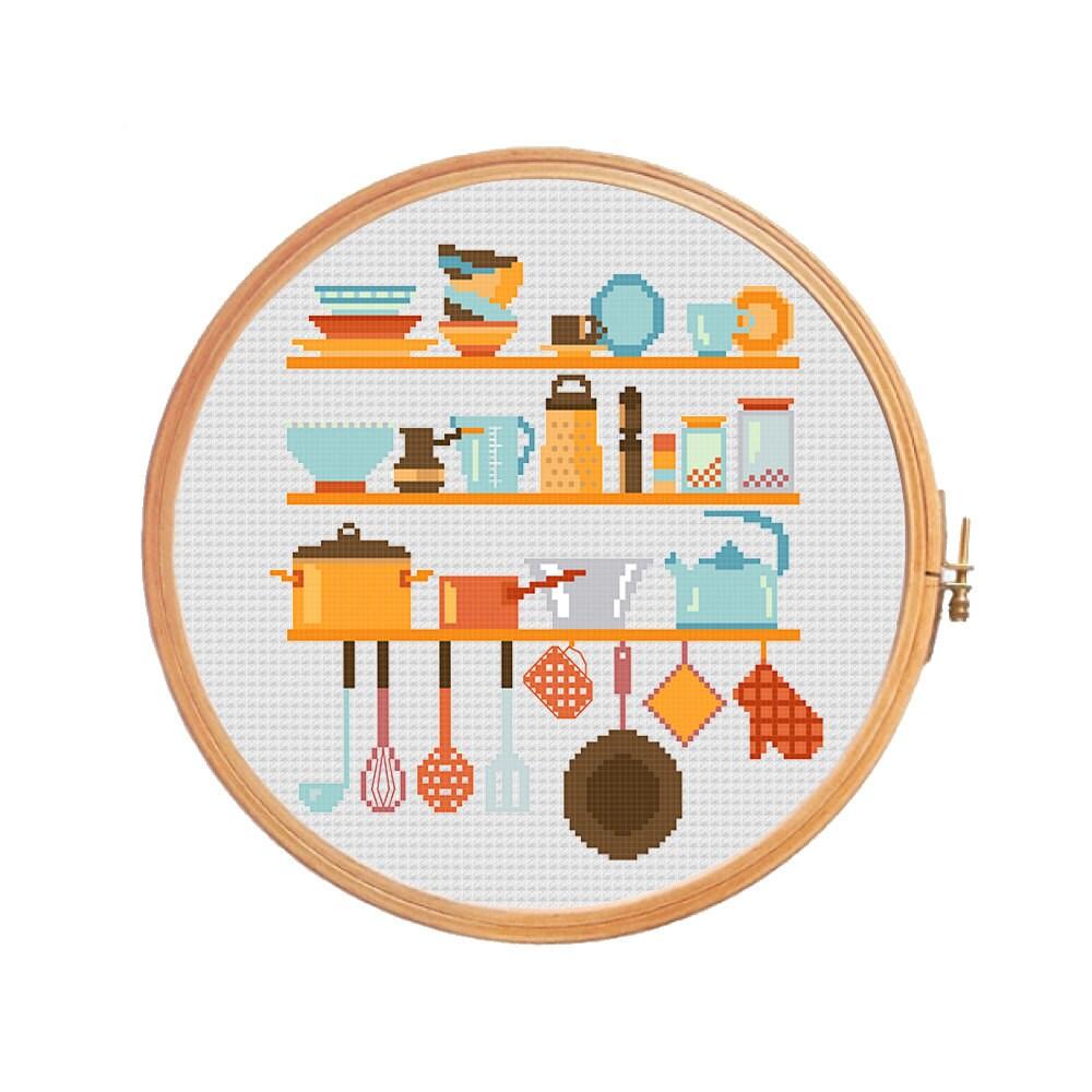 Kitchen utensils on shelves modern cross stitch pattern for Cross stitch kitchen designs