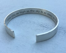 Inspiration Graduation Gift | Promotion Gift | Friend Gift | Birthday Gift I Love You As High As The Sky & As Deep As the Sea Hand Stamped