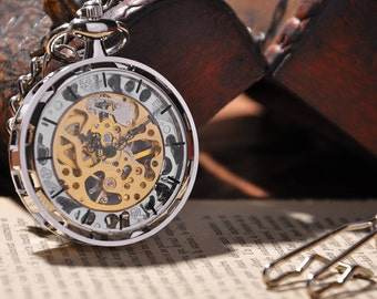 Steampunk pocket watch gold and silver men's watch mechanical vintage watch for men fob watch Christmas gift for him