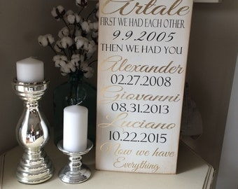First we had eachother than we had you personalized wood art sign * wedding gift 12x24