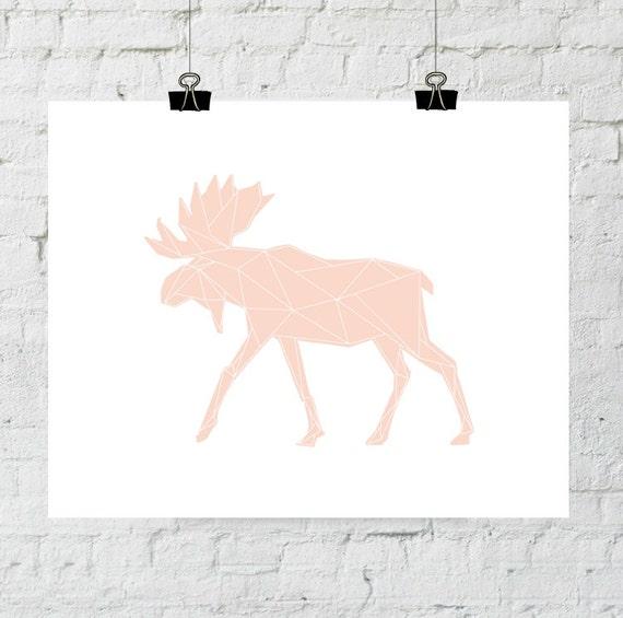 Moose Art, Coral Wall Print, Pink Art Print, Geometric Animal Art, Moose Wall Prints, Peach Print Art, Moose Artwork. Adoption Fundraiser.