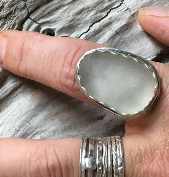 Frosted White Sea Glass Statement Ring with Scalloped Bezel