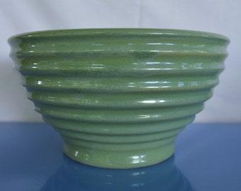 Large Aqua-Colored Pottery Bowl