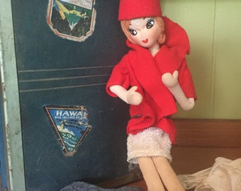 Vintage Japanese Airline Stewardess Pose Doll with Big Eyes and Vintage Travel Trunk
