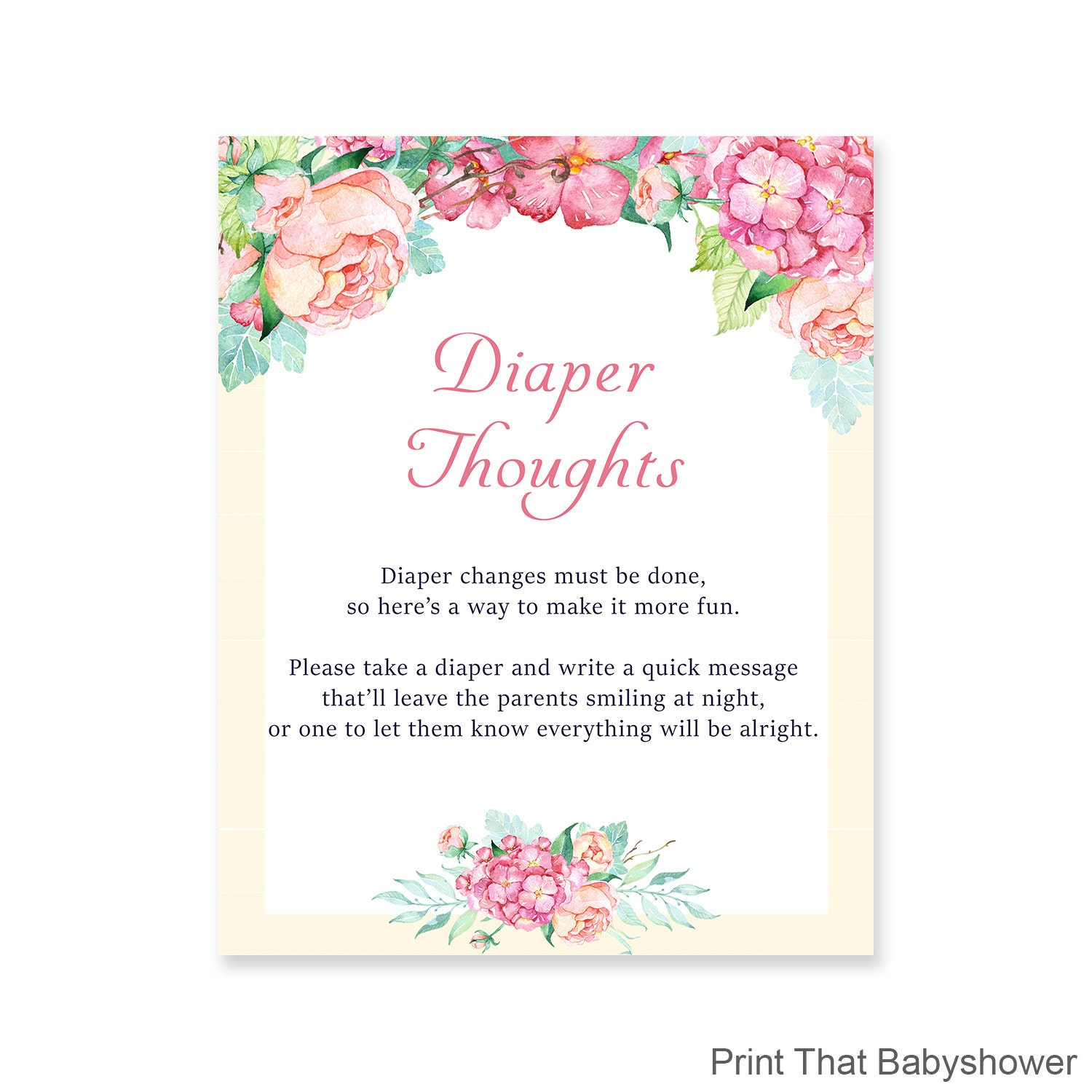Baby Shower Diaper Thoughts Game Floral Baby Shower