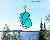 Stained glass butterfly turquoise green, stained glass cling, suncatcher, design, LOVE, Arts Vitrail