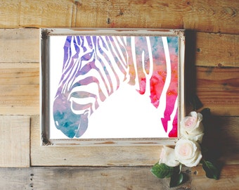 Zebra watercolor, INSTANT DOWNLOAD, watercolour wall art print, baby shower girl nursery, newborn gift, bedroom home office study decor