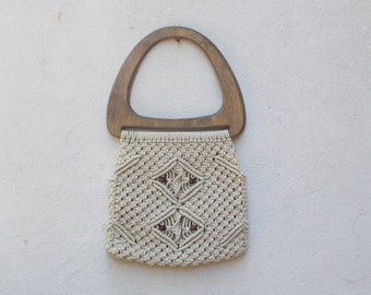 Wooden Handle 1970's Macrame Shoulder Bag Tote Purse