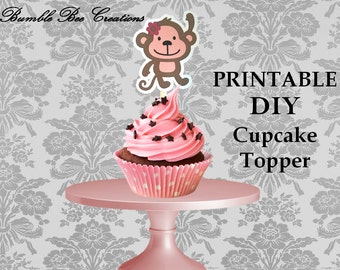 DIY Cupcake Toppers - Digital File - Instant Download - Monkey Theme - Pink