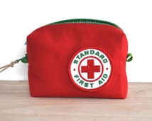 First Aid Kit / Small First Aid Bag made from Duck Canvas with Vintage Patch / First Aid Pouch / medicine bag