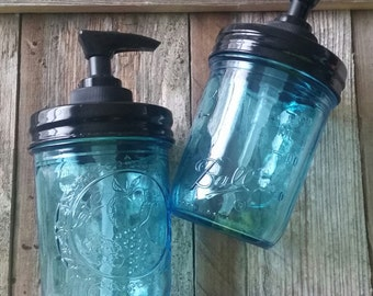 Country Living Vintage Blue Soap Dispenser 8OZ  *Featured on Country Outfitters Marketplace*- SET OF 2