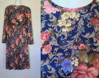 Vintage 1980s Floral Pleated Dress
